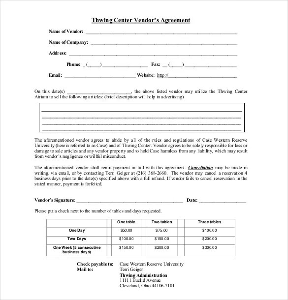 17+ Sample Vendor Agreement Templates - PDF, DOC Free  Premium - agreement form format