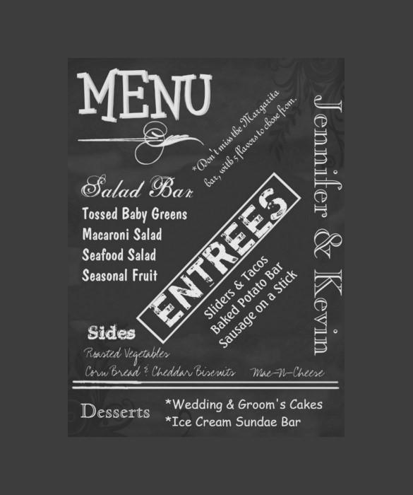 29+ Wedding Menu Templates u2013 Free Sample, Example Format Download - sample chalkboard menu template