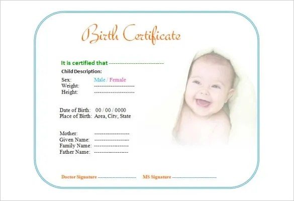 Birth Certificate Template - 44+ Free Word, PDF, PSD Format Download