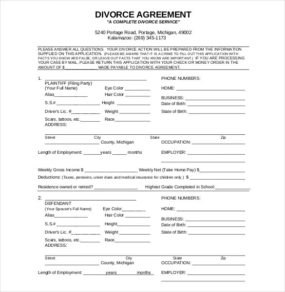 11+ Divorce Agreement Templates \u2013 Free Sample, Example, Format - divorce letter template