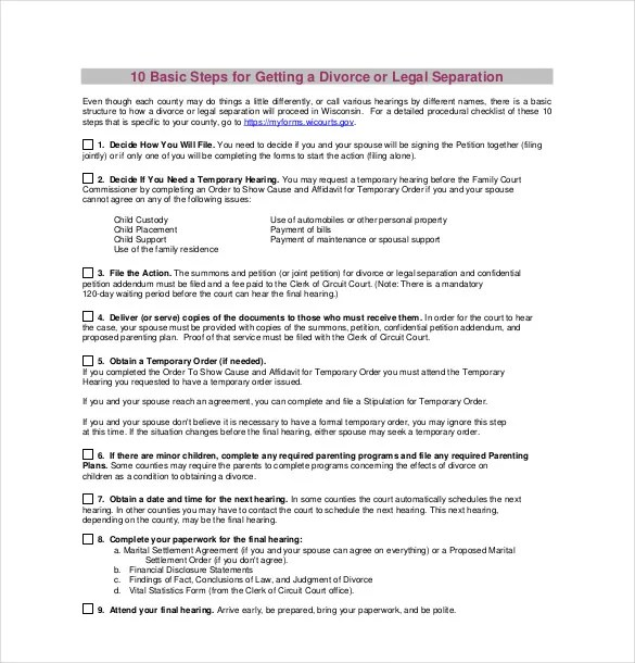 11+ Divorce Agreement Templates \u2013 Free Sample, Example, Format