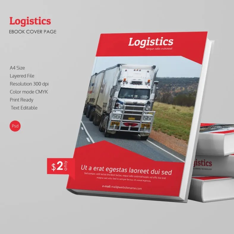 Attractive Logistics A4 eBook Cover Page Template Free  Premium