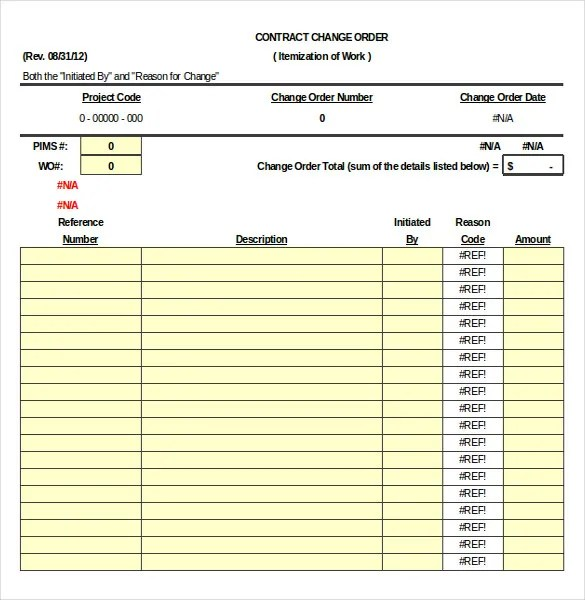 Construction Order Template \u2013 10+ Free Excel, PDF Documents Download - construction change order template