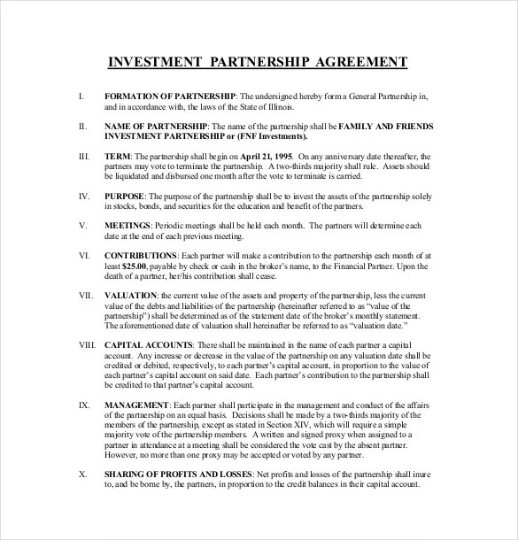 14+ Investment Agreement Templates \u2013 Free Sample, Example, Format - Free Partnership Agreement Form