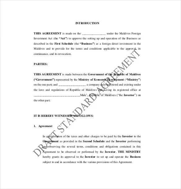 Business Investment Agreement Standard Loant Template Free Define - business investment agreements