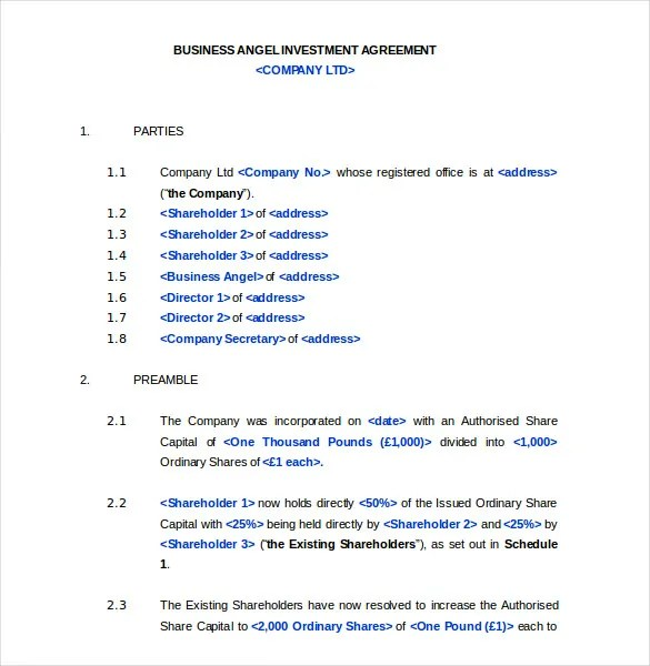 Business Investment Contract Template Free | Create Professional