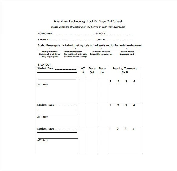 16+ Sign Out Sheet Templates - Free Sample, Example, Format Download - student sign in sheet template