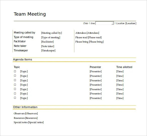 50+ Meeting Agenda Templates - PDF, DOC Free  Premium Templates - meeting agenda template word