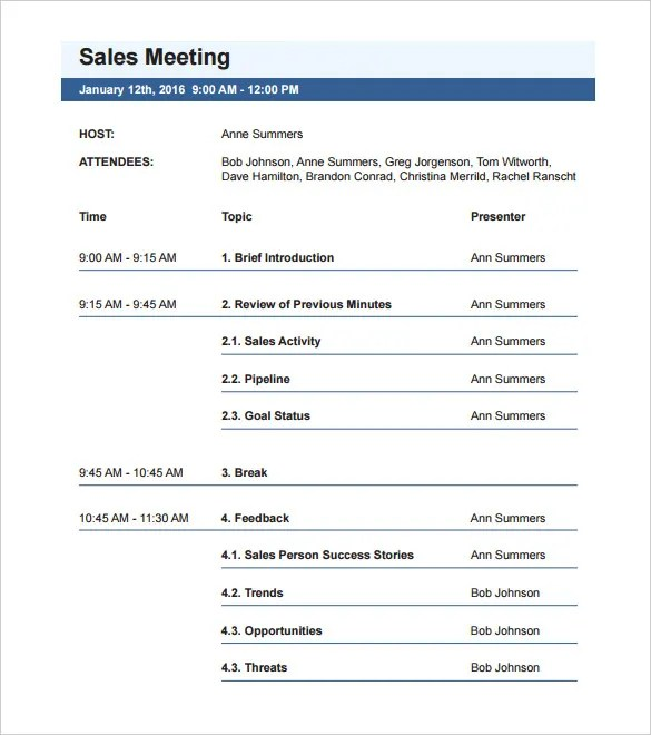 sample meeting agendas template - Funfpandroid - Agendas Templates