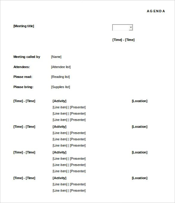 Meeting Agenda Template - 46+ Free Word, PDF Documents Download - agenda word template