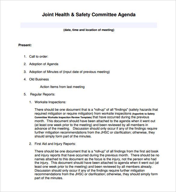 50+ Meeting Agenda Templates - PDF, DOC Free  Premium Templates - agenda meeting template word