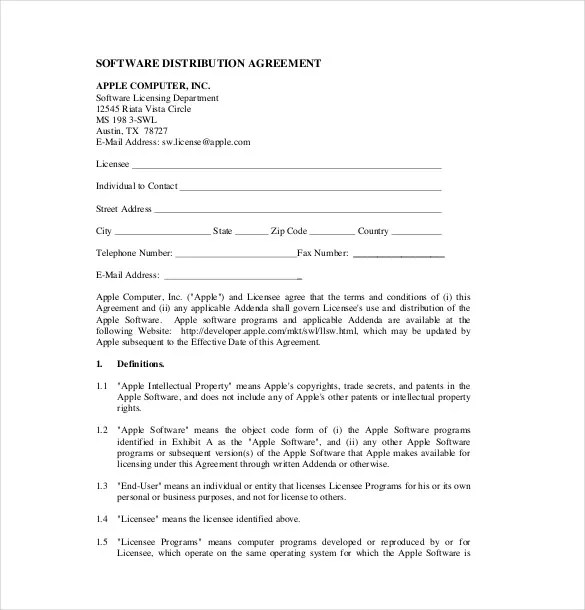 Sample Software License Agreement Template Software License - sample reseller agreement template