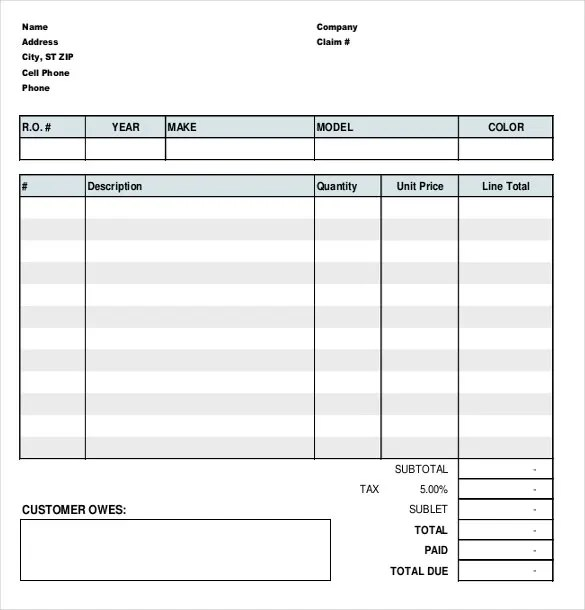 mechanic work order template - Onwebioinnovate