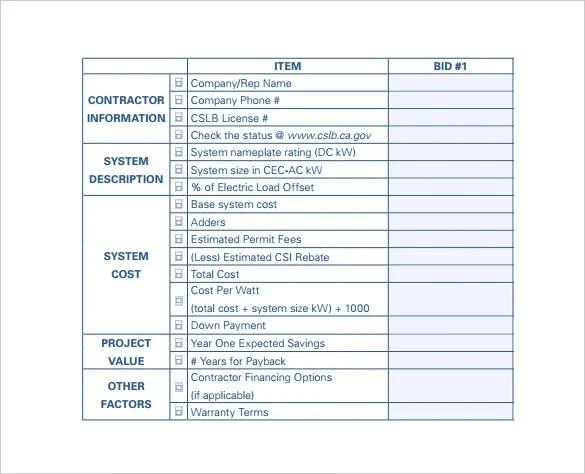 bid comparison template - Yenimescale