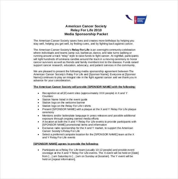 15+ Sponsorship Agreement Templates \u2013 Free Sample, Example, Format