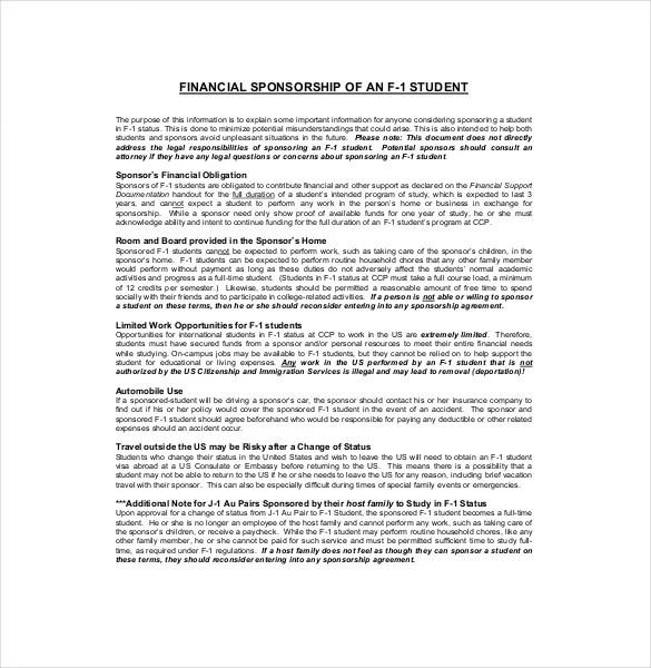 15+ Sponsorship Agreement Templates \u2013 Free Sample, Example, Format - athlete sponsorship contract