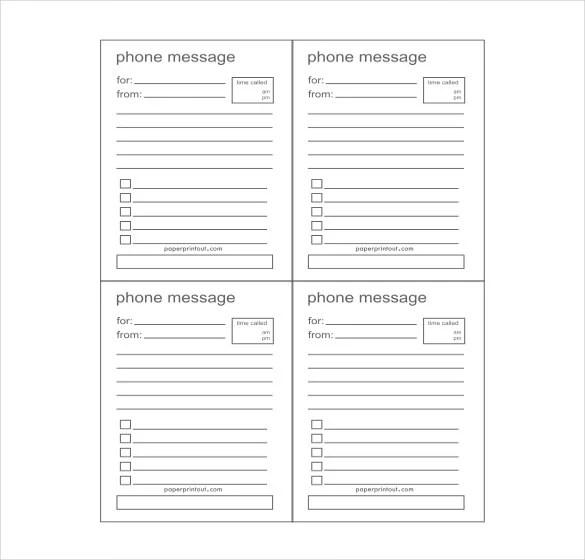 21+ Phone Message Templates - PDF, DOC Free  Premium Templates