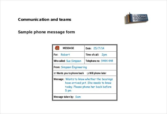 Phone Message Template \u2013 21+ Free Word, Excel, PDF Documents
