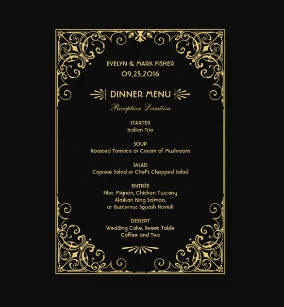 30+ Dinner Menu Templates \u2013 Free Sample, Example Format Download - dinner menu templates free