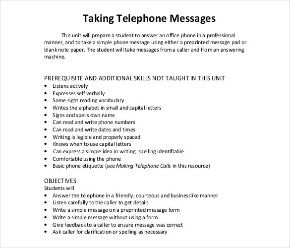 21+ Phone Message Templates - PDF, DOC Free  Premium Templates