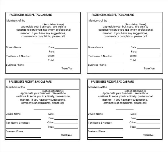 Taxi Receipt Template - 16+ Free Word, Excel, PDF Format Download - make a receipt in word