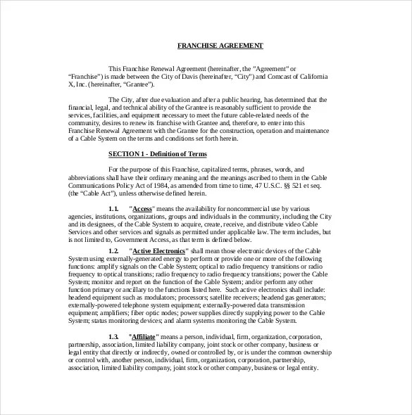 Comfortable Franchise Agreement Template Images  Example Resume