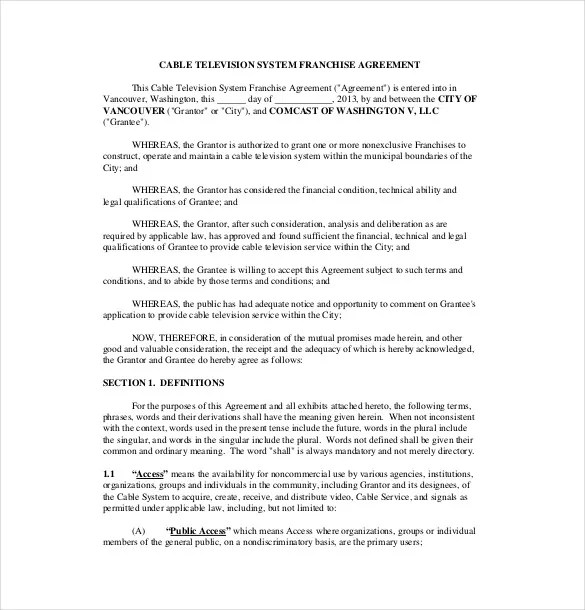 20+ Franchise Agreement Templates \u2013 Free Sample, Example, Format - Sample Master Service Agreement