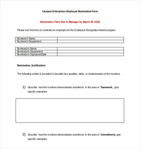 Award Nomination Form Template - 12+ Free Word, PDF Documents - award templates free word