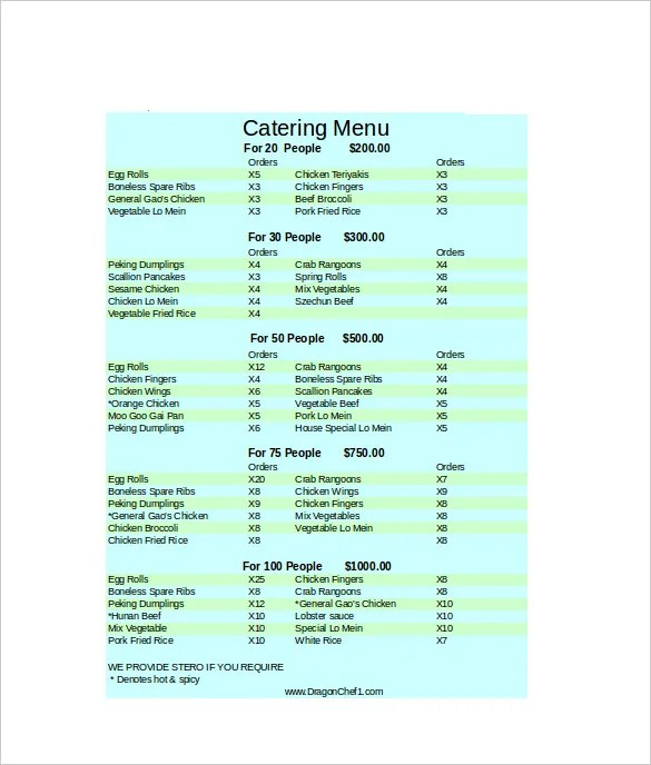29+ Catering Menu Templates - Free Sample, Example Format Download