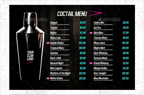 28+ Drink Menu Templates \u2013 Free Sample, Example Format Download - Free Drink Menu Template