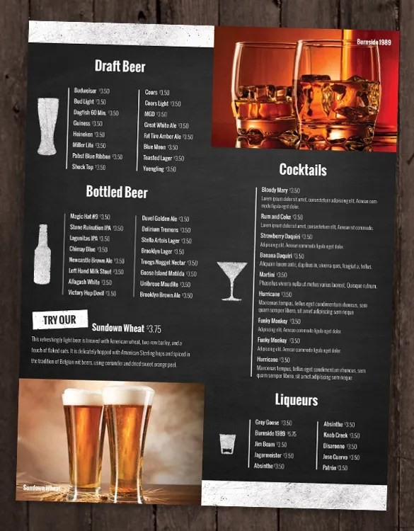 23+ Drink Menu Templates u2013 Free Sample, Example Format Download - sample drink menu template