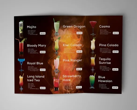 28+ Drink Menu Templates \u2013 Free Sample, Example Format Download