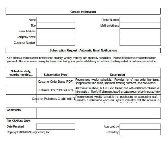 Email Order Template \u2013 10+ Free Excel, PDF, Documents Download - company order form template