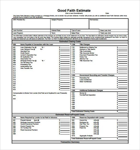 23+ Blank Estimate Templates - PDF, DOC, Excel, ODT Free  Premium - loan estimate form