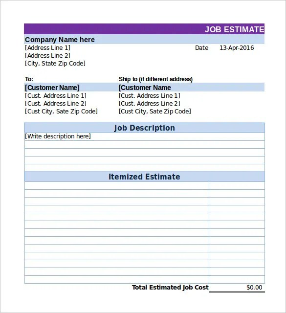 Work Estimate Template Basic Estimate (Tall) Free Service - excel job sheet template