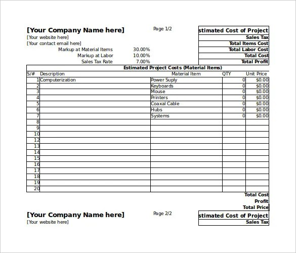 Blank Estimate Template u2013 23+ Free Word, PDF,Excel,Google Sheets - excel job sheet template