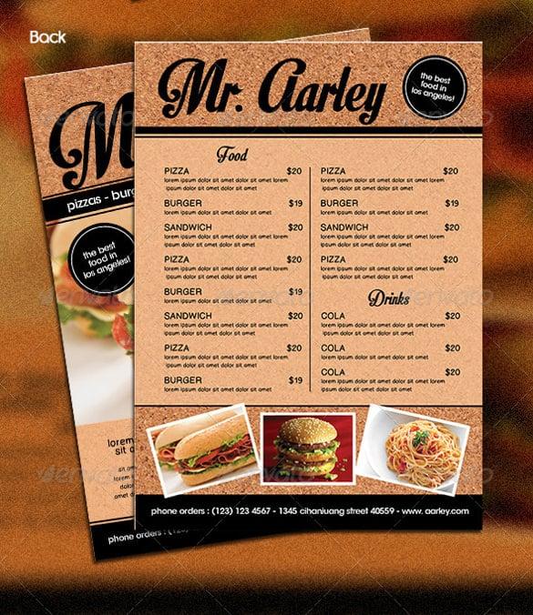 36+ Food Menu Templates \u2013 Free Sample, Example Format Download - sample menu template