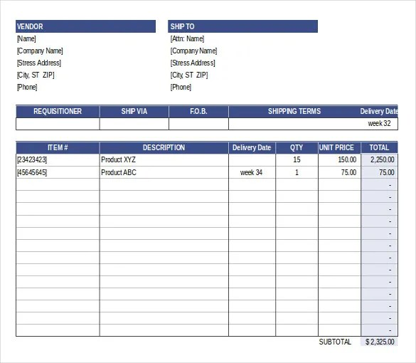 Purchase Order Template - Free Templates Free  Premium Templates - purchase order form free