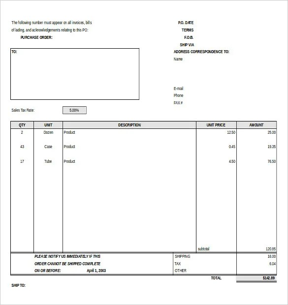 Purchase Order Template - Free Templates Free  Premium Templates