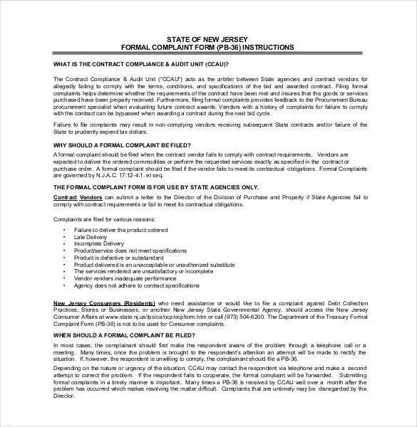 Formal Complaint Letter Template u2013 10+ Free Word, PDF Documents - business complaint letter format