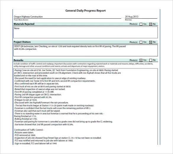 Doc#1020597 Construction Project Progress Report Template u2013 Free - job progress report