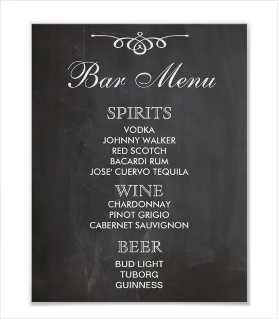 24+ Bar Menu Templates \u2013 Free Sample, Example Format Download - Free Drink Menu Template