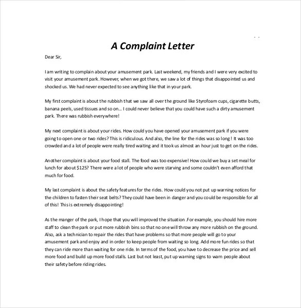 Letter of Complaint Template \u2013 10+ Free Word, PDF Documents Download