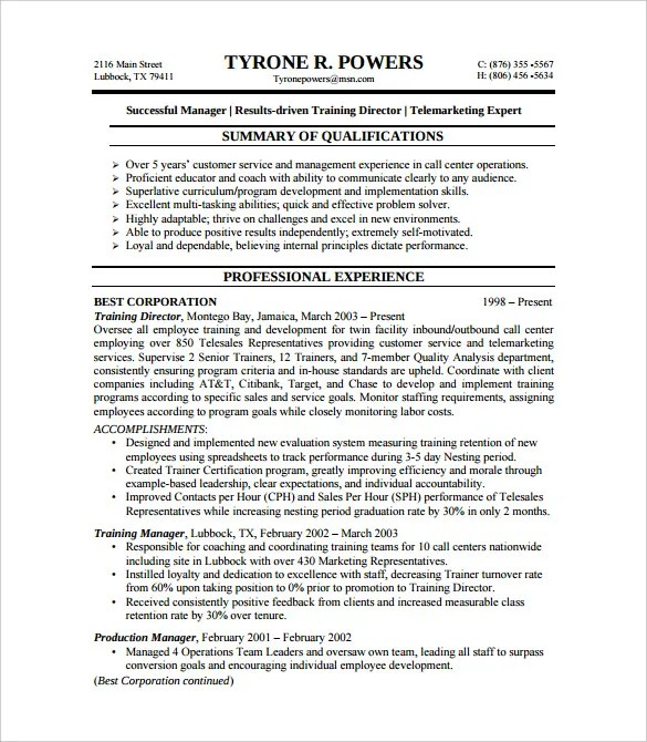 BPO Resume Template u2013 22+ Free Samples, Examples, Format Download - customer service resumes