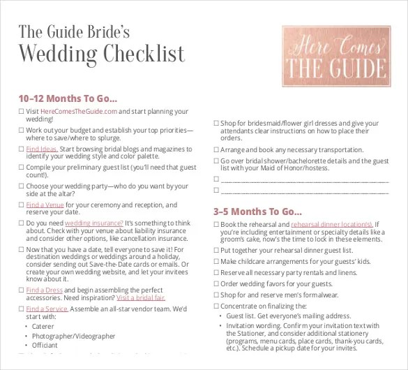 Wedding List Template - 10+ Free Word, PDF Documents Download Free