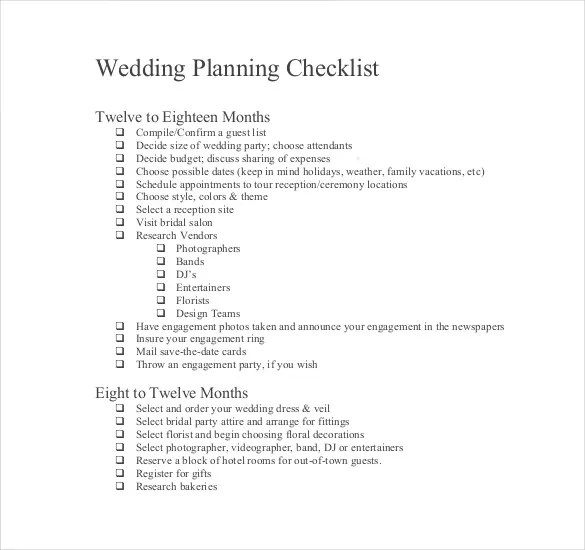 bridal party list template – Bridal Party List Template