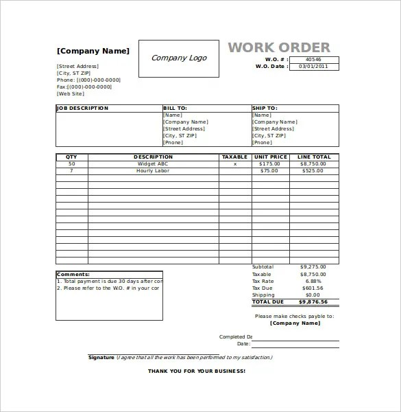 Work Order Template - 23+ Free Word, Excel, PDF Document Download