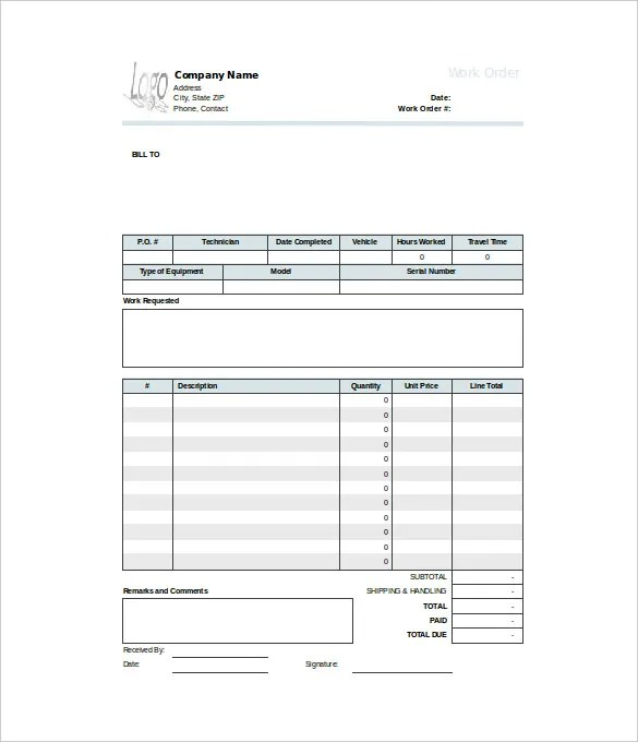 Work Order Template - 21+ Free Word, Excel, PDF Document Download - order templates free