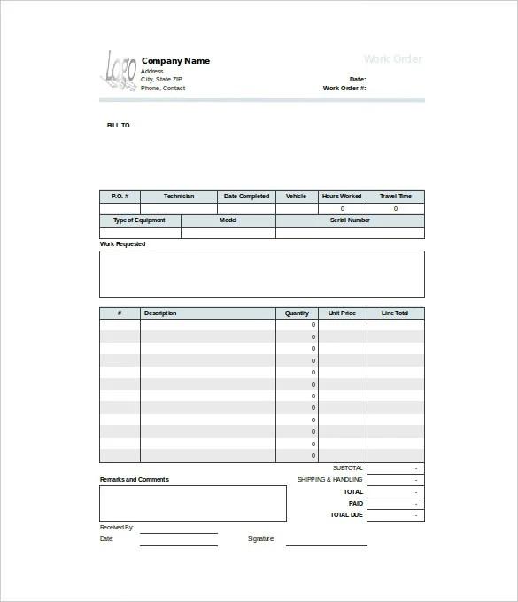 16+ Work Order Templates - Word, Google Docs Free  Premium Templates