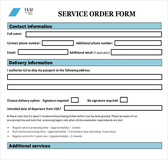 Sample Service Order Template - 6 Free Word, Excel PDF Documents - professional document templates